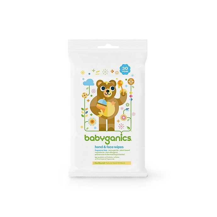 Alternate image 1 for Babyganics® 30-Count Fragrance-Free Hand and Face Wipes