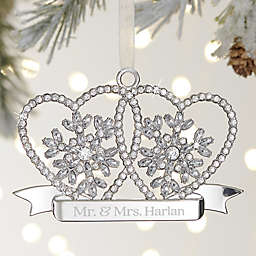 Wedding Hearts Personalized Silver Sparkle Ornament