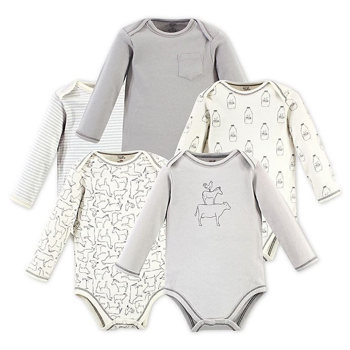 Alternate image 1 for Touched by Nature 5-Pack Long Sleeve Organic Cotton Bodysuits