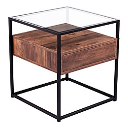 Southern Enterprises Olivern Glass Top End Table in Black