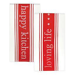 MÜkitchen Jacquard Loving Life Kitchen Towel in Red (Set of 2)