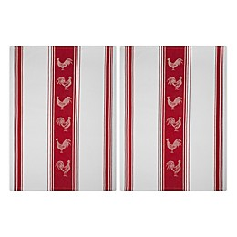 MÜkitchen Jacquard Rooster Kitchen Towels in Red (Set of 2)