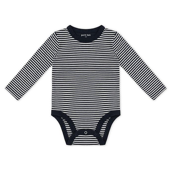 Alternate image 1 for Petit Lem™ Organic Cotton Long Sleeve Bodysuit in Navy