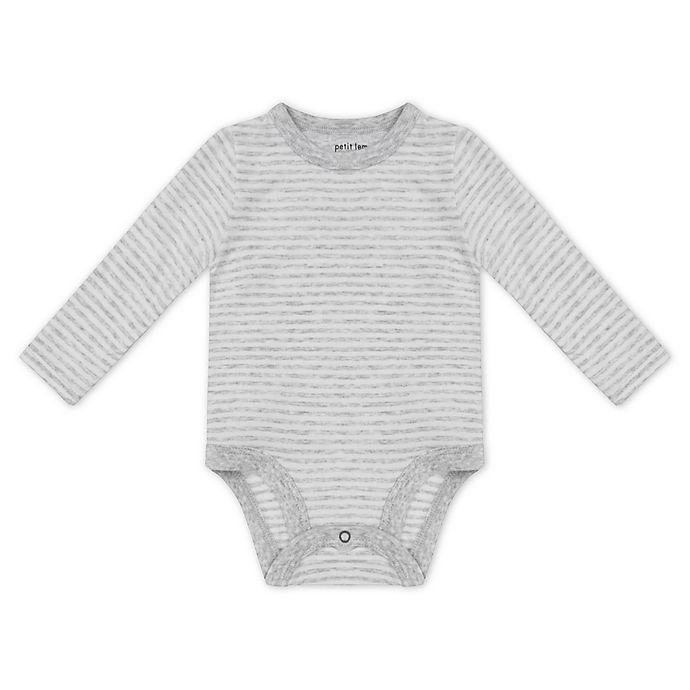 Alternate image 1 for Petit Lem™ Newborn Organic Cotton Long Sleeve Bodysuit in Grey