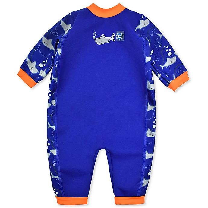 Alternate image 1 for Splash About Warm-In-One Long Sleeve Shark Wetsuit in Blue