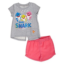 Pink Fong 2-Piece Baby Shark Singing Toddler Shirt and Short Set in Pink