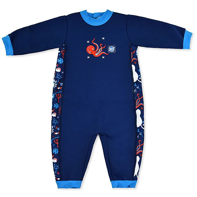 Alternate image 1 for Splash About Warm-In-One Long Sleeve Under the Sea Wetsuit in Blue