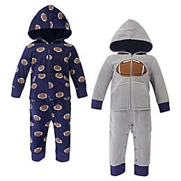 Hudson Baby® 2-Pack Football Hooded Fleece Union Suits in Grey