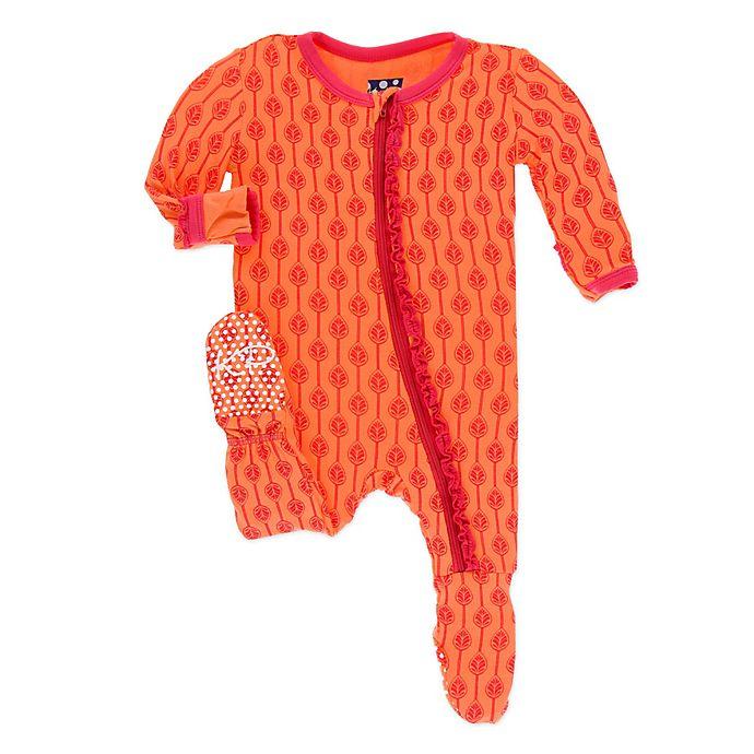 Alternate image 1 for KicKee Pants® Toddler Leaf Lattice Footie Pajama in Orange