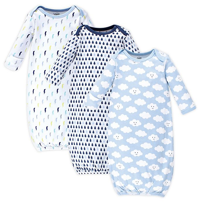 Alternate image 1 for Luvable Friends Size 0-6M 3-Pack Cloud Gowns in Blue
