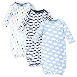 Luvable Friends Size 0-6M 3-Pack Cloud Gowns in Blue