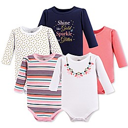 Little Treasure 5-Pack Necklace Long Sleeve Bodysuits in Pink