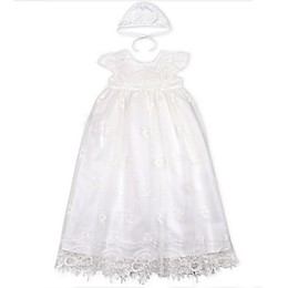 Biscotti Mesh Overlay Gown with Bonnet Set in Off White