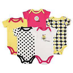Luvable Friends® Size 9-12M 5-Pack Bee Bodysuits in Yellow