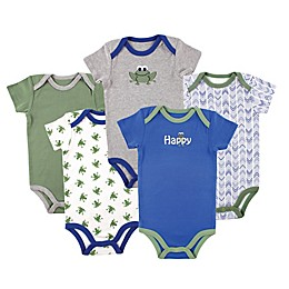 Luvable Friends® 5-Pack Frog Bodysuits in Green/Blue