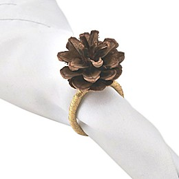 Saro Lifestyle Pinecone Napkin Ring in Brown (Set of 4)