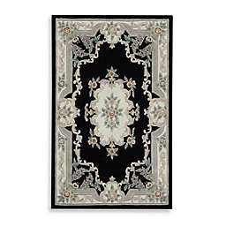 Rugs America New Aubusson Rug in Black