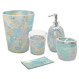 India Ink Aurora Pastel Cracked Glass Bath Accessory Ensemble