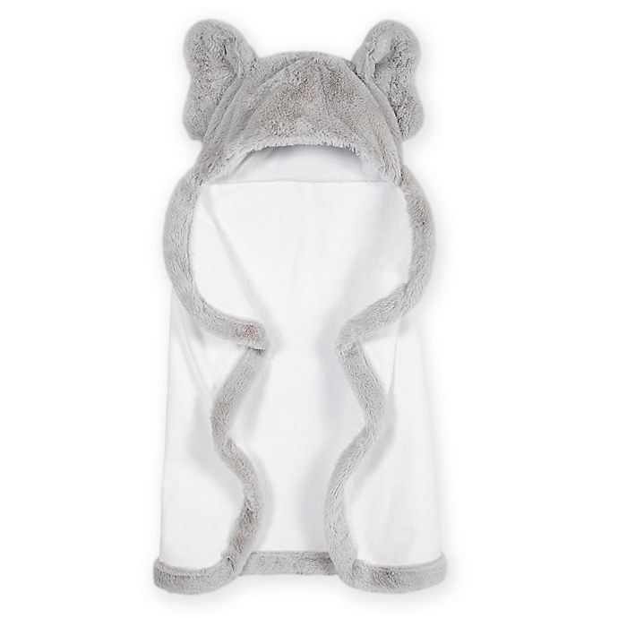 Alternate image 1 for Just Born® Elephant Hooded Towel in Grey