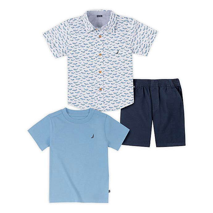 Alternate image 1 for Nautica® 3-Piece Short-Sleeved Shirt and Pant Set