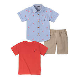 Nautica® Size 6-9M 3-Piece Lobster Gingham Short-Sleeved Shirt and Pant Set in Blue