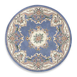 Rugs America New Aubusson 6-Foot Round Rug in Light Blue