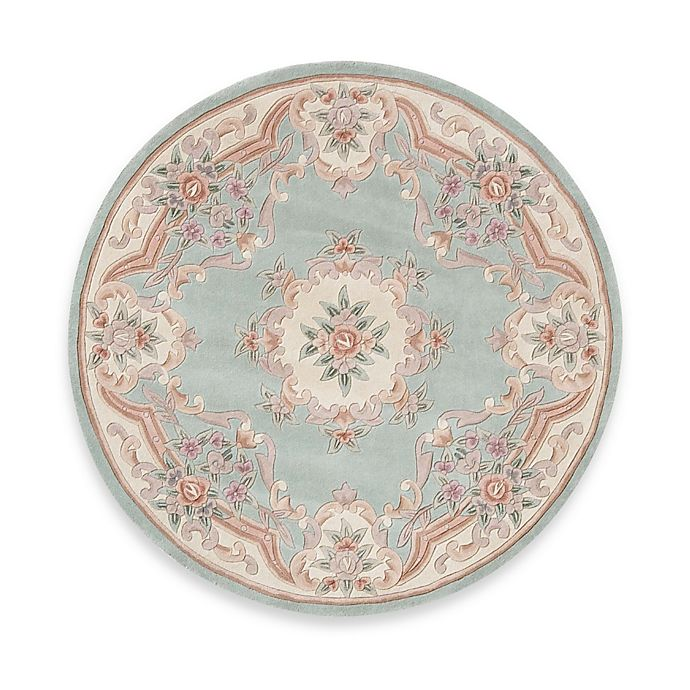 Alternate image 1 for Rugs America New Aubusson 6-Foot Round Rug in Light Green