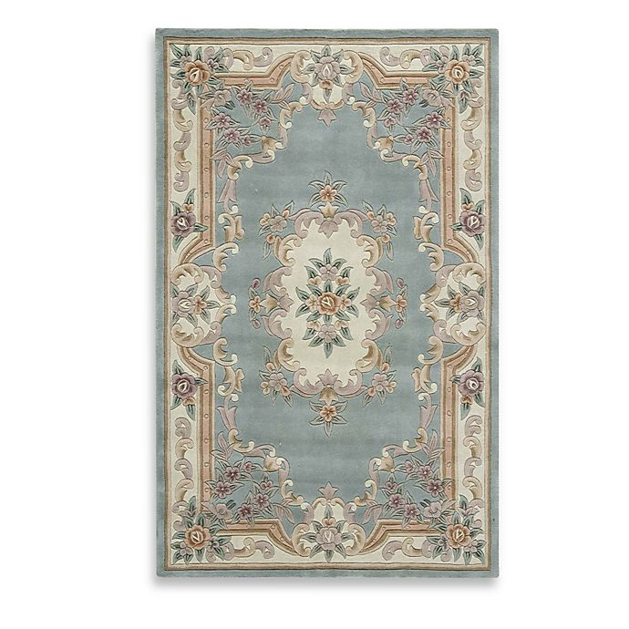 Alternate image 1 for Rugs America New Aubusson 8-Foot x 11-Foot Rectangular Rug in Light Green