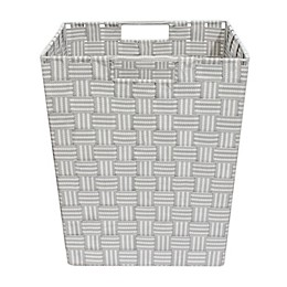 ORG Woven 13-Inch Square Storage Basket in Grey Stripe