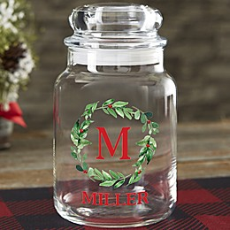 Watercolor Wreath Personalized Candy Jar