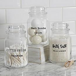 Bathroom Text Personalized Glass Storage Jar