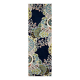 Momeni® New Wave 2'6 x 8' Handcrafted Runner Rug in Navy