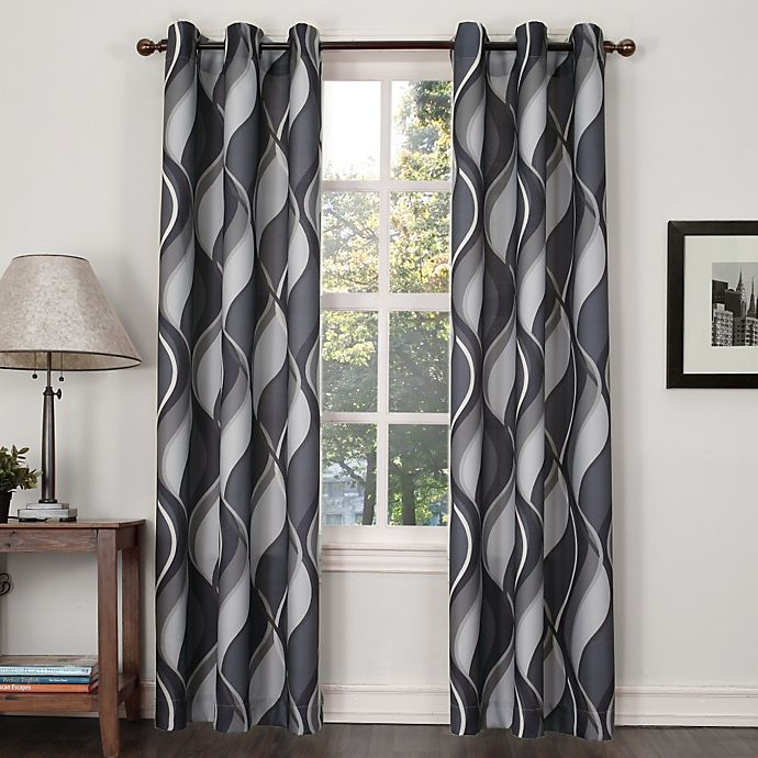 Alternate image 1 for Swerve Print Grommet Window Curtain Panel