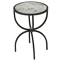 Elon Metal and Mirror Round Side Table in Black