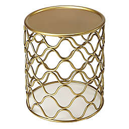Glendale Metal Drum Table in Antique Gold
