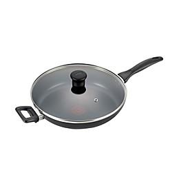 T-fal® Pure Cook Nonstick 13-Inch Aluminum Covered Fry Pan with Helper Handle in Black