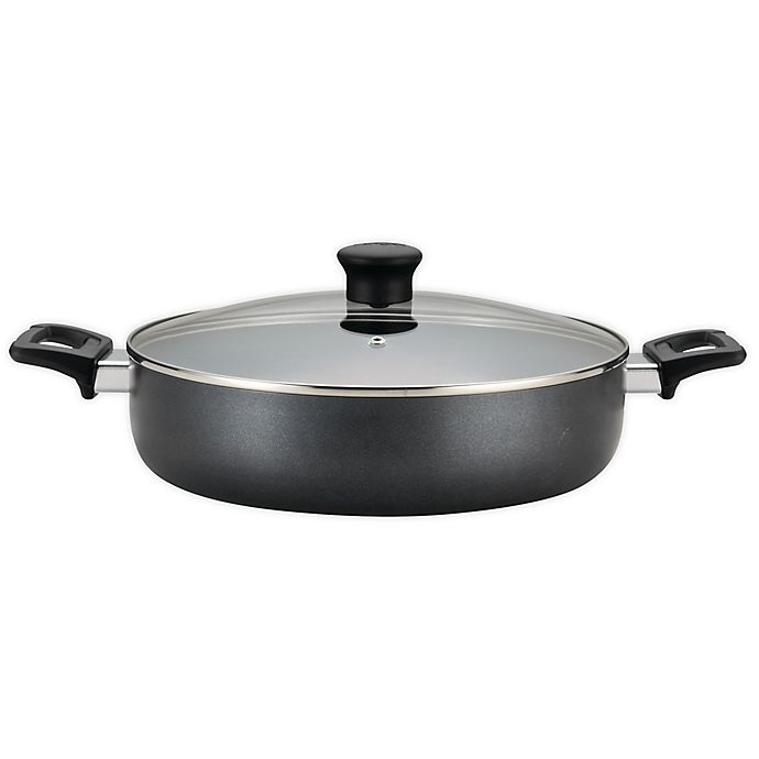 Alternate image 1 for T-fal® Pure Cook Nonstick 5 qt. Aluminum Covered Saute Pan in Black