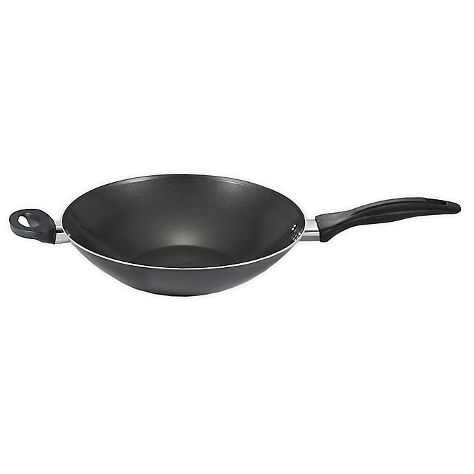 Alternate image 1 for T-fal® Pure Cook Nonstick 14-Inch Aluminum Wok with Helper Handle in Black