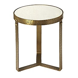 Elton Marble and Metal Round Accent Table