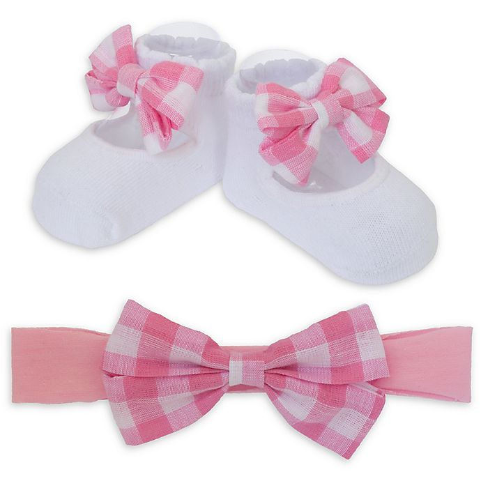 Alternate image 1 for So 'dorable Gingham Bow Headband and Bootie Set in Pink