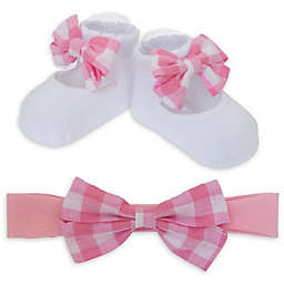 So 'dorable Gingham Bow Headband and Bootie Set in Pink