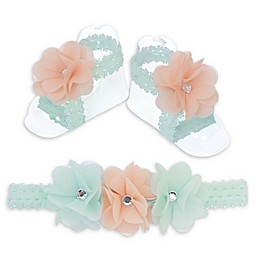 So 'dorable Floral Headband and Footwrap Set in Mint/Pink
