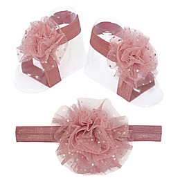So 'dorable Puff Headband and Footwrap Set in Dusty Pink