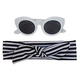 So 'dorable Stripe Headband and Sunglasses Set in Black/White