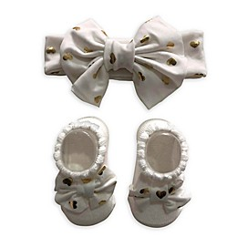 Curls & Pearls 2-Pack Gold Heart Bow Headband and Bootie Sock Set