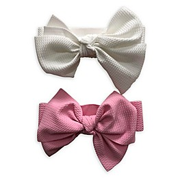 Curls & Pearls 2-Pack Bow Headband Set in White/Pink