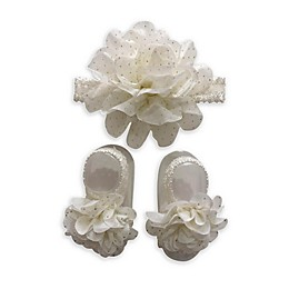 Curls & Pearls 2-Pack Flower Headband and Footwrap Set in Ivory/Gold Dot