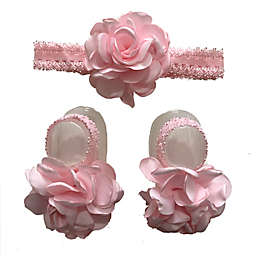 Curls & Pearls 2-Piece Flower Headband and Footwrap Set in Light Pink/Gold Dot