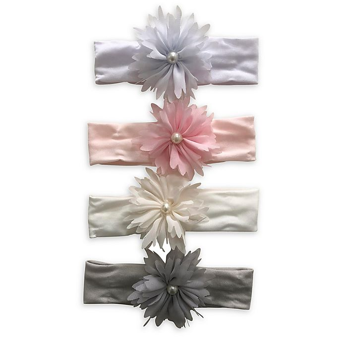 Alternate image 1 for Curls & Pearls 4-Pack Flower Headbands with Pearls