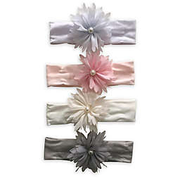 Curls & Pearls 4-Pack Flower Headbands with Pearls